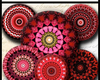 INSTANT DOWNLOAD Red Mandalas (715) 4x6 Bottle Cap Images Printable Digital Collage Sheet  bottlecaps glass tiles hair bows cabochon images