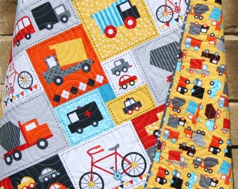 Baby Boy Quilt Toddler Bedding Car Vehicles Trucks Cars Bikes Buses Dump Truck Gray Blue Red Yellow Ready Set Go Ambulance Fire Truck Retro