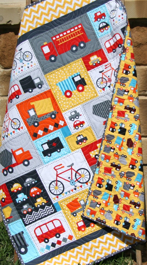 Baby boy quilt toddler bedding car vehicles trucks cars bikes for Little blue truck fabric