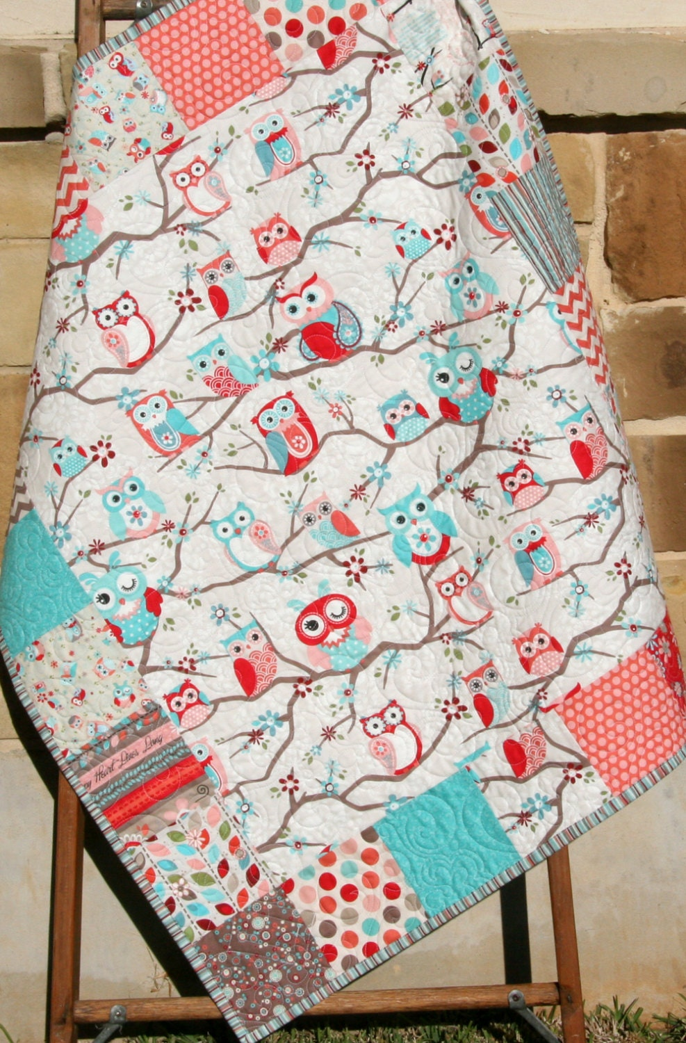 Owl Quilt Girl Bedding Pink Coral Aqua Baby Blue Nursery