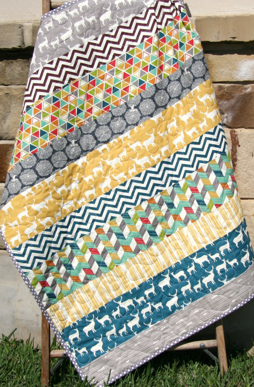 Baby Boy Quilt Striped Blanket Deer Elk Chevron Outdoor