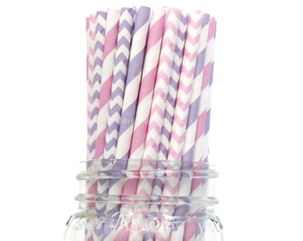 Pink Purple Paper Straws, 25 Purple Straws, Wedding Table Setting, Baby Shower, Kids Birthday Party Supplies, Lavender, Lilac, Pastel, USA