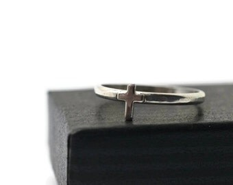 Silver Cross Ring, Custom Engraved Message, Personalized Minimalist Silver Band, Charm Jewelry