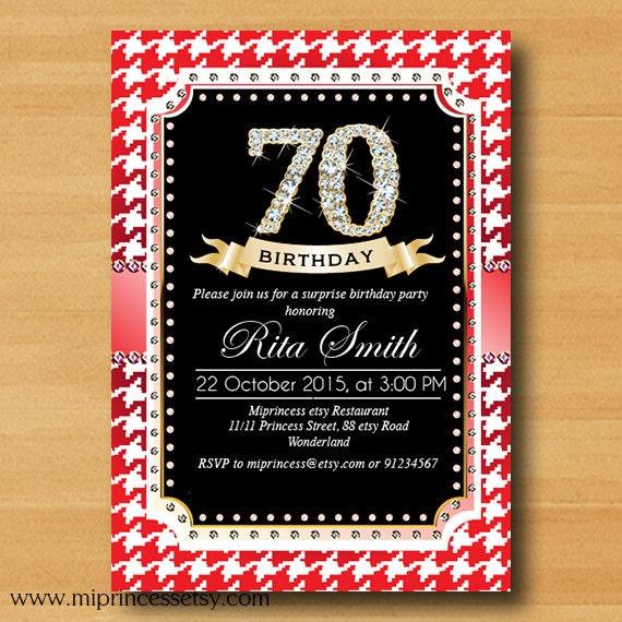 Houndstooth birthday invitation, glam glitter design invitation 20th 30th 40th 50th 60th 70th 80th 90th Birthday elegant invite- card 496