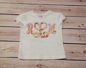 Monogrammed  applique Toddler baby Girls T-Shirt white V-neck tee you pick fabric 1 or 3 letter option