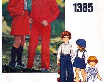 Little Vogue 1385 Vintage 70s Children's Jacket, Skirt, Pants and Shorts Sewing Pattern - Uncut - Size 3