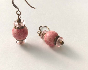 Salmon Pink Stone Balls, Wire Wrapped Brass Bronze Antique Gold Dangle Earrings