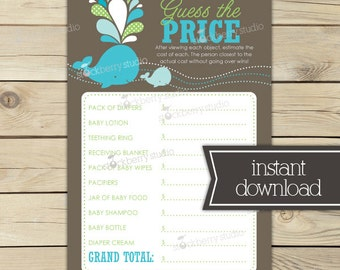 Whale Baby Shower Game - Baby Price is Right Game - Gray Green Aqua Blue Baby Shower Games Printable - Instant Download - Boy Baby Shower