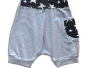 Boy Harem Shorts, Trendy Baby Pants- Grey with Black and White Stars