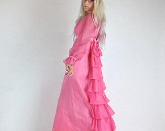60's Cupcake Sheer Cake Pink Ruffle Tiered Princess Bows Empire Maxi Dress Lorrie Deb San Francisco // S
