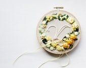 Ribbon Floral Appliques on Embroidery Hoop in Yellow Garden // Wall Art // Home Decor // Ring Holder // Perfect Baby Gift