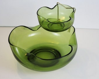 Vintage Chip and Dip - Green Glass Anchor Hocking Chip and Dip Set