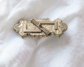 Edwardian Lingerie Pin Brooch Ornate Brass with Red Stone Antique