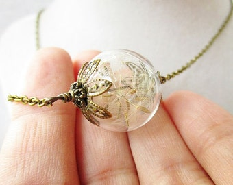 Dandelion Seed Glass Orb Terrarium Necklace with Bronze Filigree Flower Petals, Small Orb, Bridesmaid Jewelry