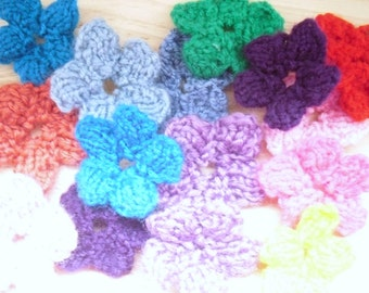 Knitted Flowers, Mixed Colour bag of scrapbooking, card making supplies