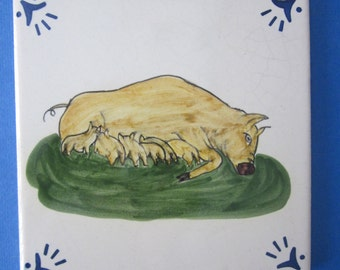 Portuguese Art Tile - Rustic Hand Painted Sow and Litter of Piglets - Pig Lover Collectible