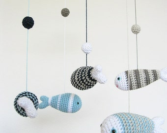 Gray & Blue Baby Mobile, Ocean Sea Nursery Mobile, Fish Nautical Nursery Decor