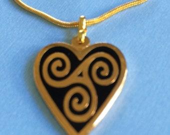 Celtic Spirals Heart Necklace