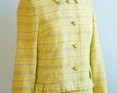 1960's Yellow Linen Belted Dress & Blazer Set