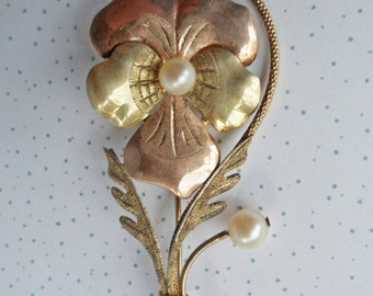 Large Vintage AMCO Pansy Brooch Gold filled Sterling with Genuine pearl accents