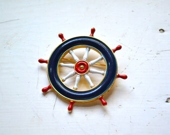 1960s Red, White, and Blue Ship's Helm Brooch