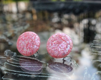 Pretty Pink Confetti Lucite Earrings, ca. 1960s
