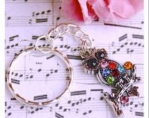 Owl Key Ring , Exotic Beautiful Sky Blue Rhinestone Owl Swivel Key Chain By: Tranquilityy