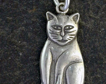 Sterling Silver Cat Pendant on Sterling Silver Chain.