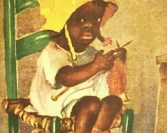 Vintage Black Americana Print / Little Girl Knitting