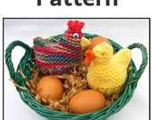 PATTERN: Knitted chicken and duck Easter Cozies. Hen, rooster, duck, duckling. Easter baskets.
