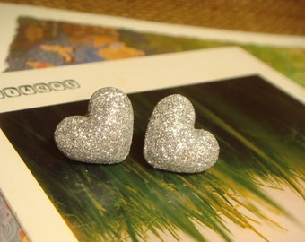 Glitter Silver Heart Shaped Fabric Covered Button Stud/Post Earrings (E265)