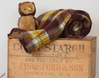 Wool Blanket by Faribo - Brown Yellow Plaid - Camp Style Throw