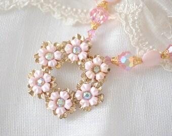 Pink flower necklace, vintage assemblage necklace, vintage brooch, vintage crystal & MOP beads