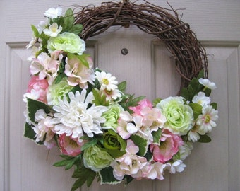 Spring Wreath, Easter Wreath, Mothers Day, Summer Wreath, Bridal Decor, Shower Decoration, Pink Green Floral Wreath, Cottage Chic Decor