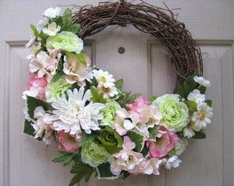 Floral Wedding Wreath, Spring Wreath, Summer Wreath, Front Door Decor, Pink Wreath, Bridal Shower Wreaths, Wedding Decorations