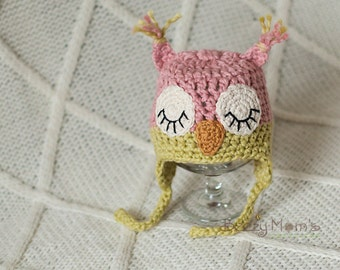 IN STOCK Organic Newborn Owl hat, Organic baby hat, Natural baby, Sleepy owl hat, Photo Prop
