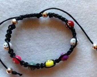 Friendship Black Macrame w colour sparkle beads Shamballa Bracelet-Layer bracelets,mala stack,yoga bracelet,textile ,boho, spring fashion