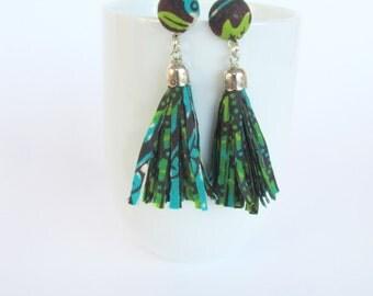 Africa tassel earrings / long fabric earrings /fringe earrings