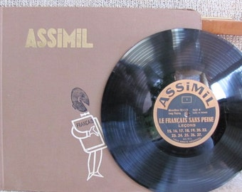 "Vintage 50's ""Assimil Le Francais sans peine"" French Instruction Vinyl Album Hard Cover Set - 5 78 records - Francais - French Language"