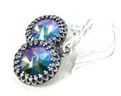Purple earrings, Swarovski crystal drop earrings, Antique silver filigree prism earrings, Rainbow crystal jewelry, Glass bead earrings