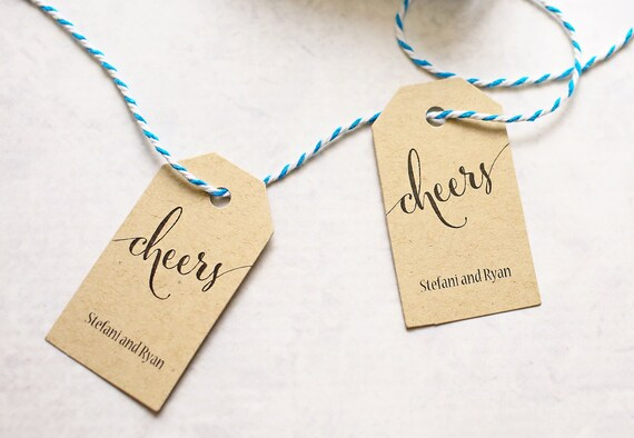 Cheers Tag - Personalized Tag for Wine, Champagne, New Years, Wedding, Party Favors, Bachelorette, Birthday - Set of 25 (SMGT-CAN)