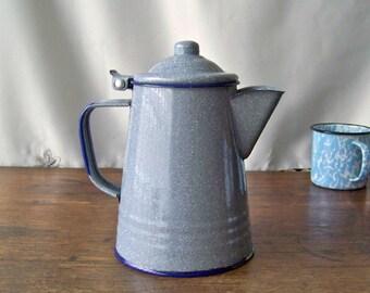 Vintage Enamelware Teapot Grey Graniteware Coffee Pot Camp Stove Tea Kettle Rustic Cabin Grey Flecked Navy Trim Vintage 1970s