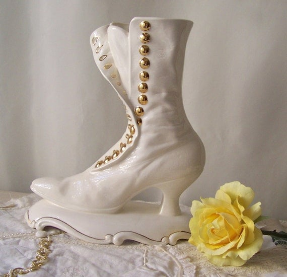 Vintage Victorian Boot White Ceramic Vase Atlantic Mold Signed