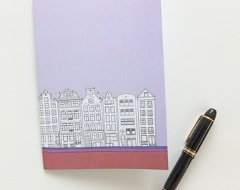 Amsterdam Notebook, pastel lilac, blank journal, A5 travel journal, unlined journal