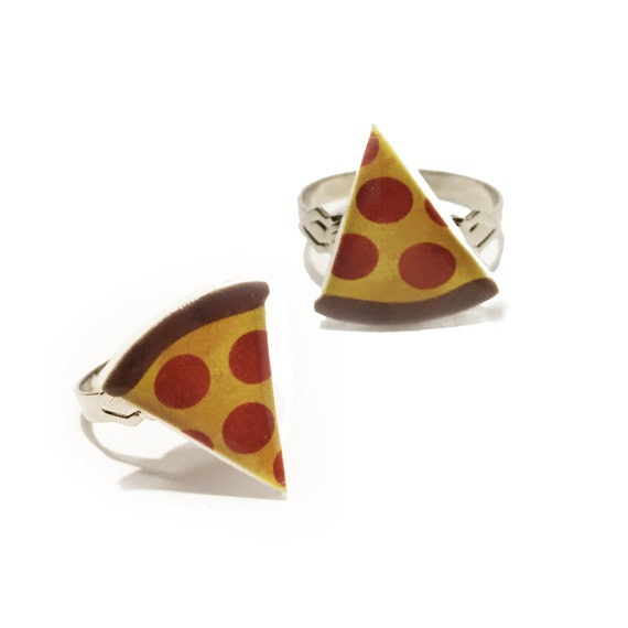 pizza rings best friend jewelry bff pizza slices by