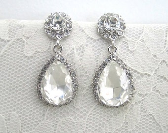 Bridal Earrings, Wedding Earrings, Dangle Earrings, Wedding Jewelry,Bridal Jewelry,Pear,Rhinestone, Evening, Teardrop,Silver,Bridesmaid Gift