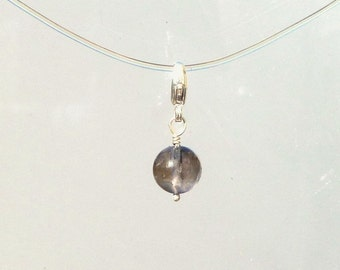 Iolite Charm - Natural Iolite Clip On Charm  - Round Water Sapphire Bead in Silver for Bracelet or Necklace - Add On Charm