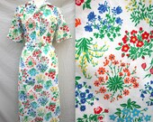 Vintage Rainbow Floral Day Dress with Pockets