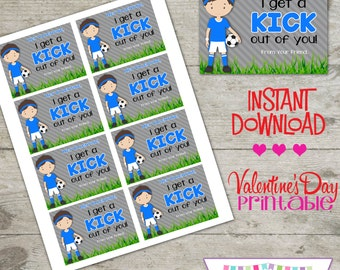 Valentine Soccer - Printable Valentine's Day Cards - INSTANT DOWNLOAD
