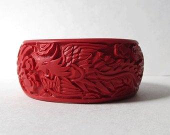 Red Cinnabar Bangle Bracelet Dragon Bracelet Vintage Chunky Cinnabar Bangle